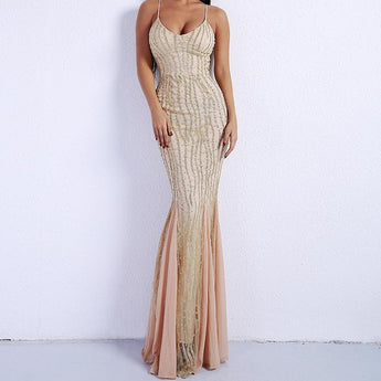 PROM Nude Pink Sequin Chiffon Mermaid Maxi Dress