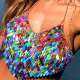 Rainbow Sequin Scale Festival Chain Crop Top