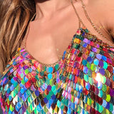 Rainbow Scale Chainmail Bikini Two Piece Set