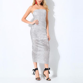 Boutique Stretch Sequin Boob Tube Midi Dress Silver