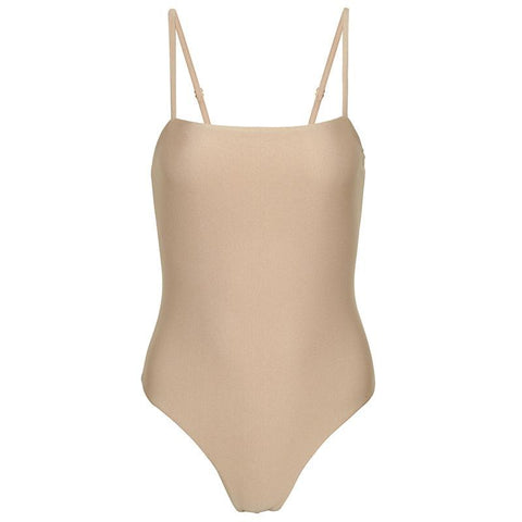 Khaki Shimmer Seamless Cut Out One Piece Swimsuit