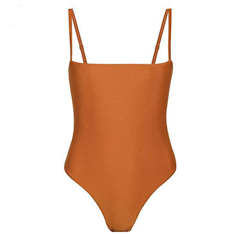 Orange Shimmer Seamless Cut Out Swimsuit