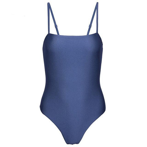 Blue Shimmer Seamless Cut Out One Piece Swimsuit