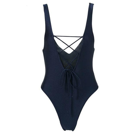 Dark Navy Lace Up Front Seamless High Leg Swimsuit