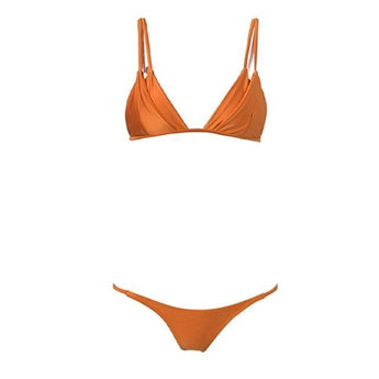 SALE Orange Double Cup Micro Brazilian Bikini