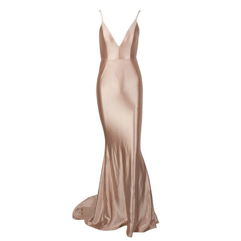 PROM Nude Shine Low Back Ruched Bum Mermaid Train Dress