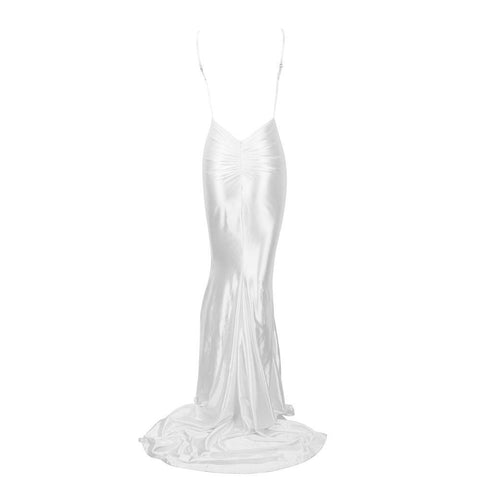 PROM White Shine Low Back Ruched Bum Mermaid Train Dress