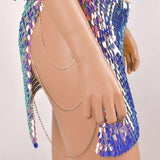 FESTIVAL Purple / Green Two Tone Scale Sequin Skirt