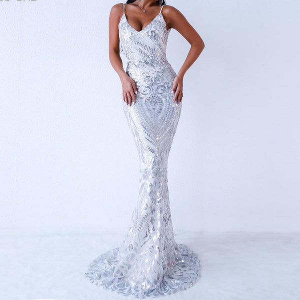 PROM White Sequinned Fitted Backless Mermaid Train Dress