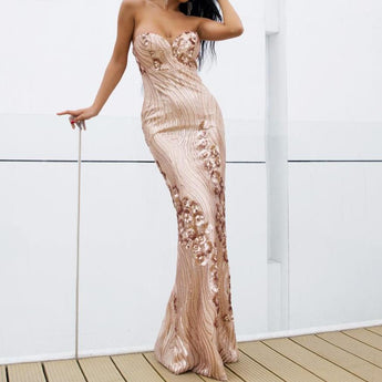 PROM Rose Gold Sequin Strapless Bustier Floor Length Maxi Dress
