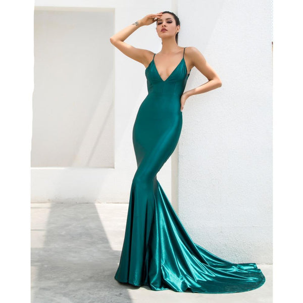 PROM Green Shine Low Back Ruched Bum Mermaid Train Dress