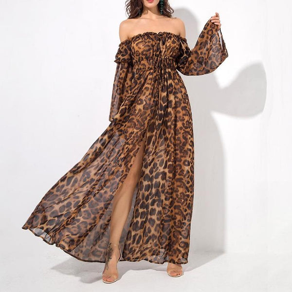 Leopard Print Chiffon Off Shoulder Maxi Dress