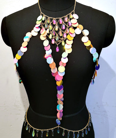 FESTIVAL Holographic Sea Scale + Acrylic Bead Chain Harness