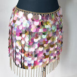 FESTIVAL Holographic Sea Scale Sequin Chain Skirt