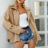 Oversized Teddy Borg Oatmeal Belt Detail Jacket