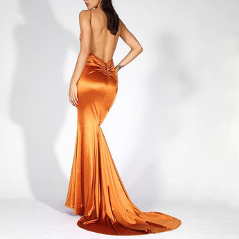 Prom Burnt Orange Shine Low Back Ruched Bum Mermaid Train Dress