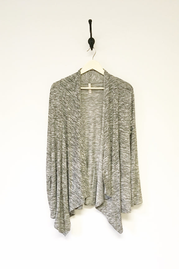 Grey Triblend Drapey Cardigan- Plus