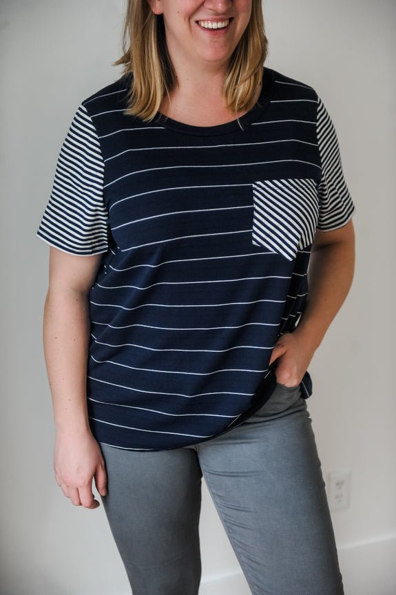 Jane Navy + White Contrast Stripe Tee