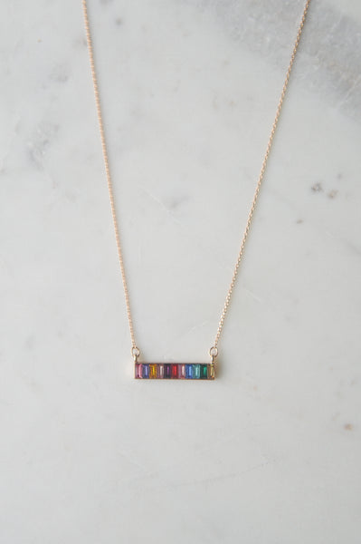 Rainbow Stone Bar Necklace