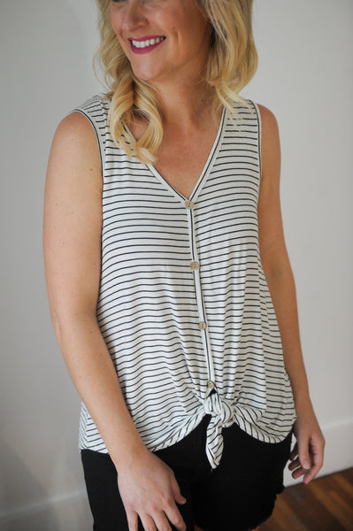 Julia Stripe Button Front Tank