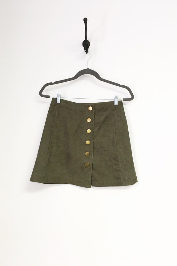 Olive Cord Button Detail Skirt