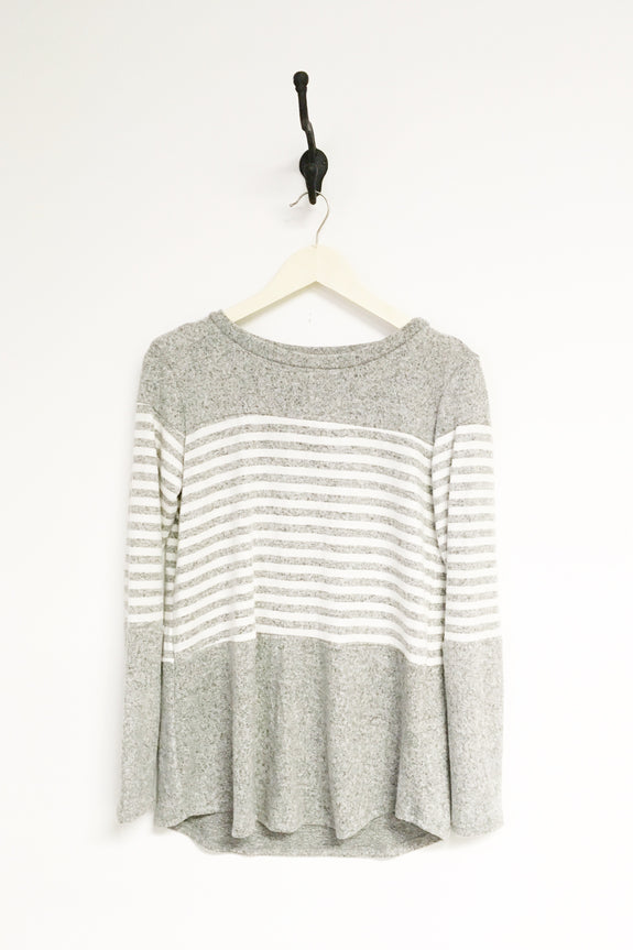 Brushed Long Sleeve Striped Color Block Sweater