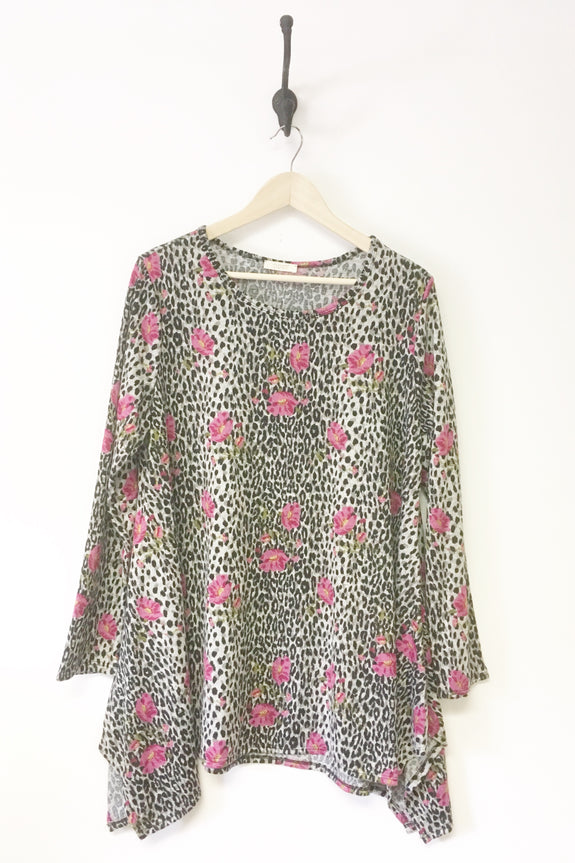 Roxanne Animal & Floral Print Top Plus