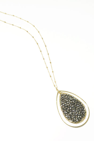 Bead & Metal Double Teardrop Necklace