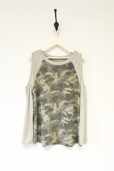 Camo Knit Tee Cold Shoulder