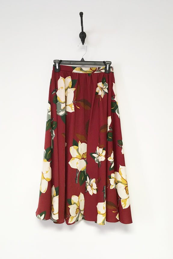 Joanna Deep Red Floral Midi Skirt