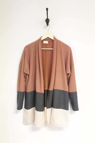 Cozy Rust Stripe Mid length Cardigan