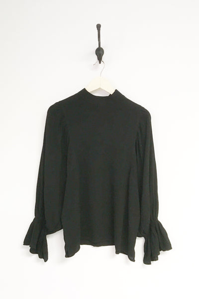 Bella Black Mock Neck Blouse