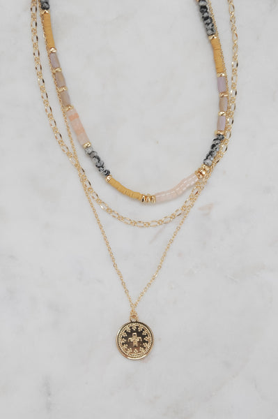 3 Layer Bead Necklace with Gold Coin