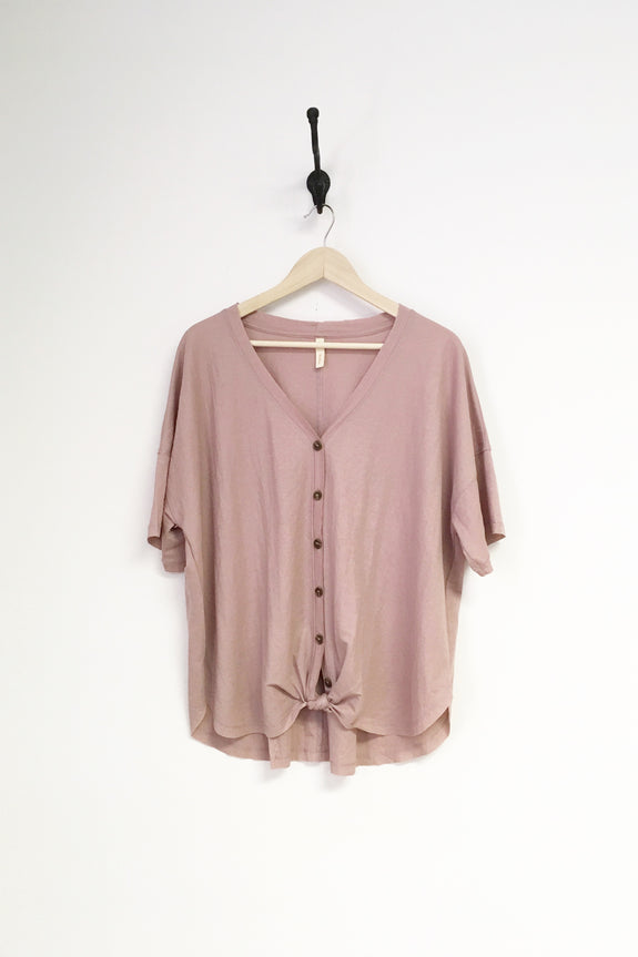 Button Up Front Knot Short Sleeve Shirt