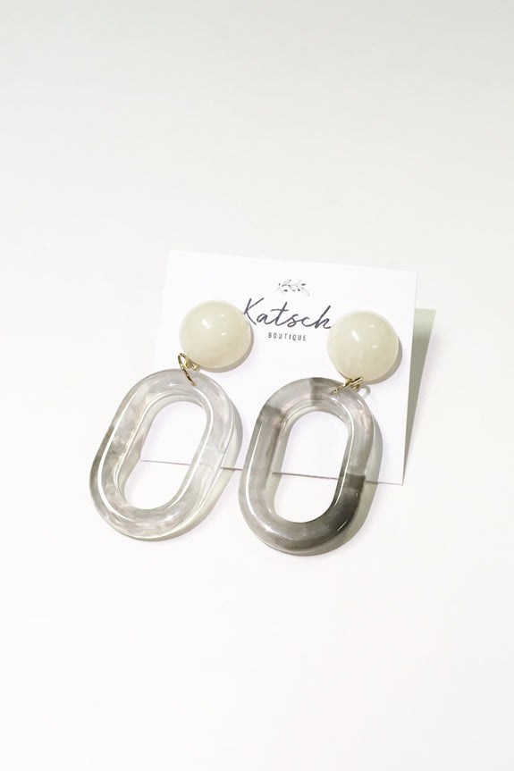 Acrylic Oval Dangle Earrings Grey