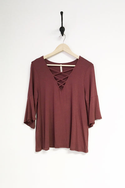 Criss Cross Knit Top with Bell Sleeve