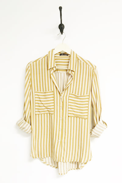 Corrine Camel Striped Button Down