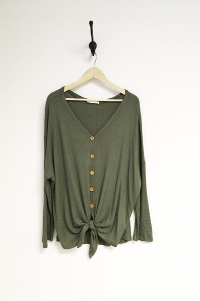 Button Front Waffle Top