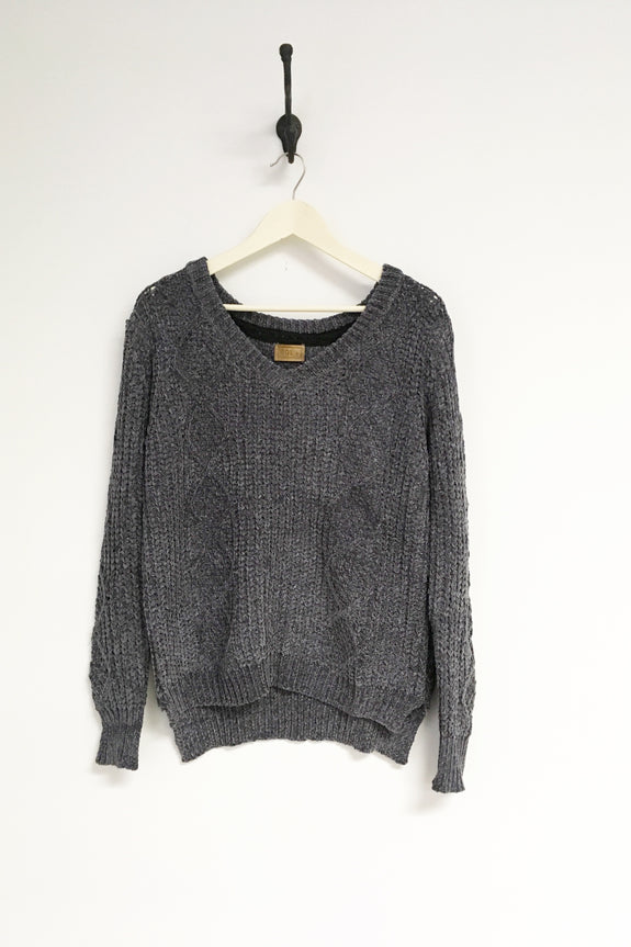 Snug Cable Knit Sweater Charcoal