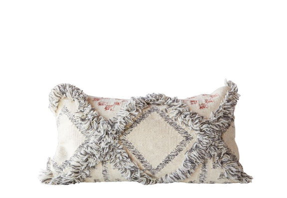 Wool Fringe Geometric Pillow
