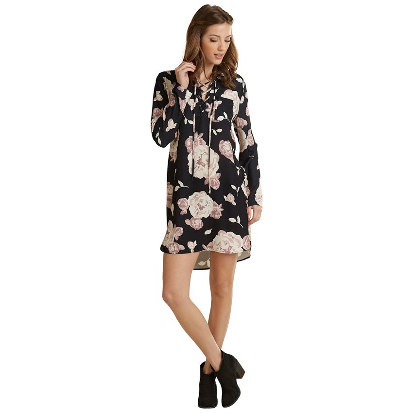 Kinsley Black Floral Dress