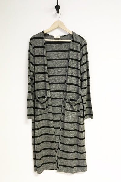 Charcoal Stripe Cozy Duster - Plus