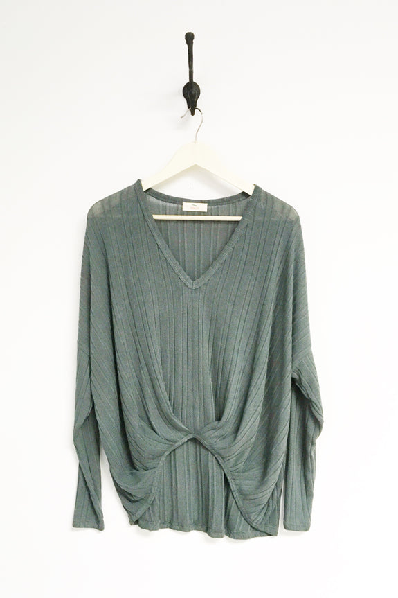 Claudia Pleated Front V-Neck Pullover