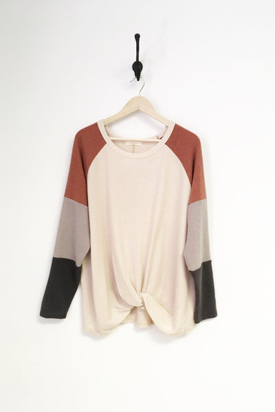 Natural Combo Sleeve Sweater- Plus
