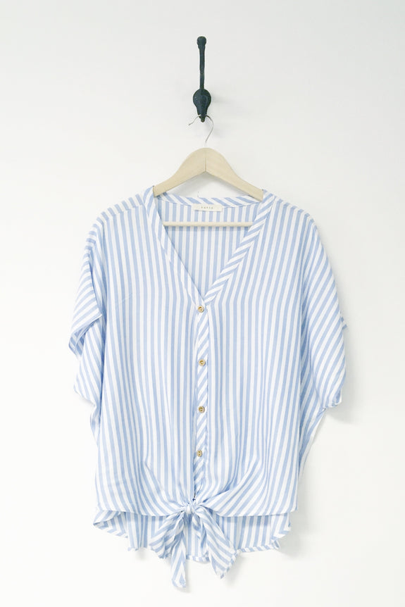 Kenzie Striped Button Up Front Tie Top