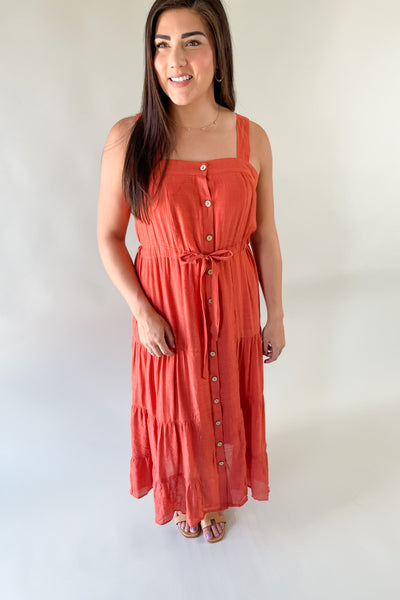 Angelina Tiered Rust Midi Dress