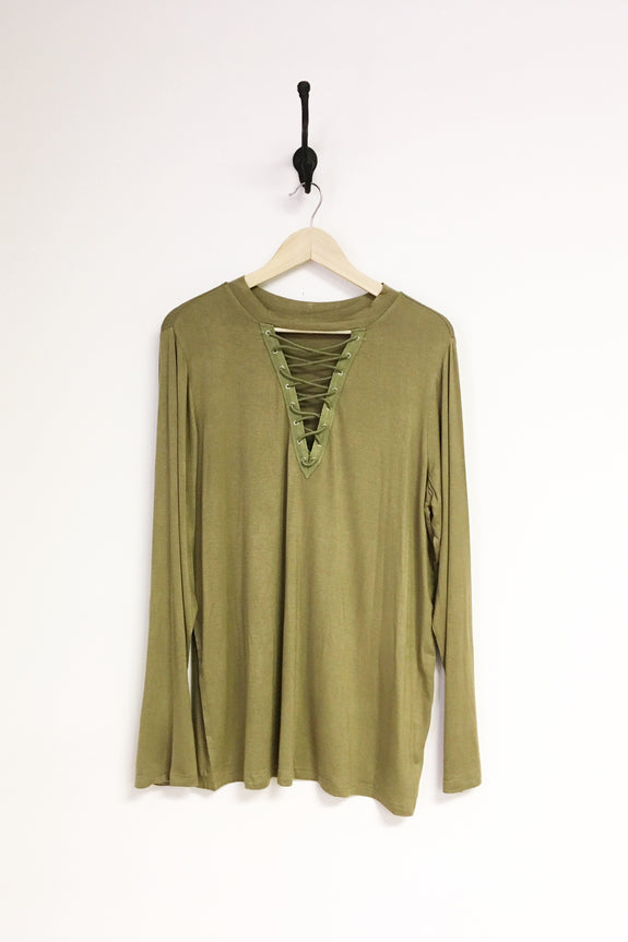 Long Sleeve Front Criss Cross Top - Plus