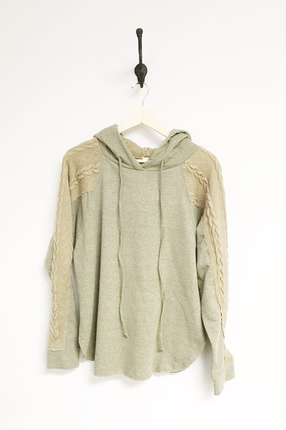 Josie French Terry Hoodie w/ Cable Knit Sleeve Plus