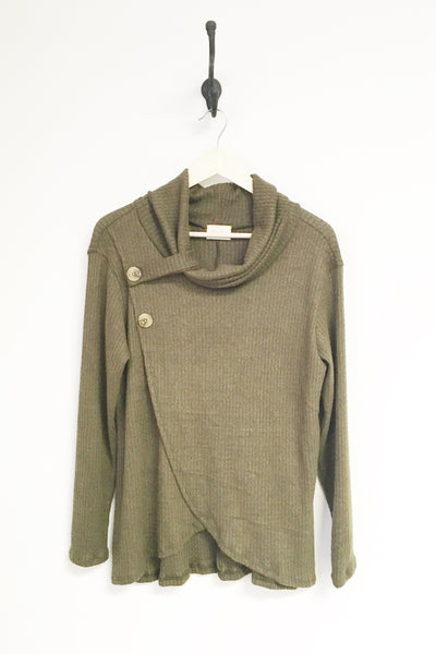 Olivia Cozy Waffle Side Button Top