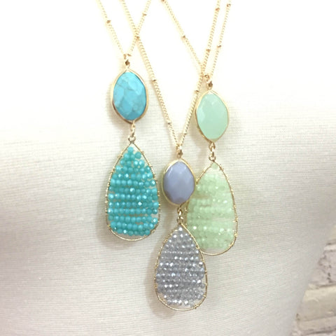 Beaded Teardrop Necklace